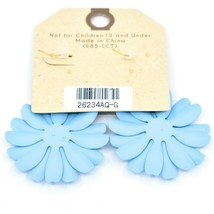 "Crystal Avenue Pale Sky Blue Spring Flower 2"" Drop Dangle Hook Metal Earrings image 2"