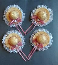 4 Straw Hat Lot Doll Bear Arts Crafts Supplies Closepin Pink Ribbon Bow ... - $19.95