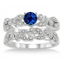 1.25 Carat Sapphire and Sim Diamond Antique Flower Bridal Set 14K White Gold Fn  - $99.99