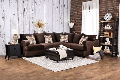 Herman II Sectional Sofa Chocolate Brown Living Room Contemporary Modern Design