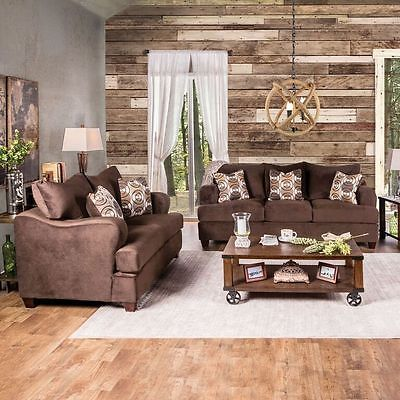 Herman III Chocolate Brown Living Room Sofa Set Contemporary Modern Design