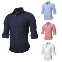 2018 New Men Shirt Solid Color Long Sleeve Casual Brand Clothing Camisa Social M - $43.66