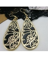 Peacock Black Large Dangle Earrings (In Silver ... - $4.00
