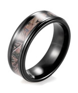 Men's Black Titanium Real Forest Camo Ring Outdoor Hunting wedding band - $28.00
