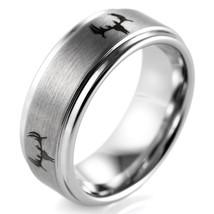 Tungsten Carbide Wild Deer Antler Ring Men's Ourdoor Wedding Band - $30.00