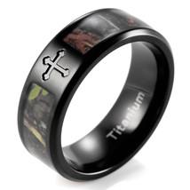 8mm Black Simply Real Tree Camo Cross Titanium Ring Men's wedding bands - $35.00