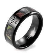 8mm Black Simply Real Tree Camo Cross Titanium Ring Men's wedding bands - $35.00