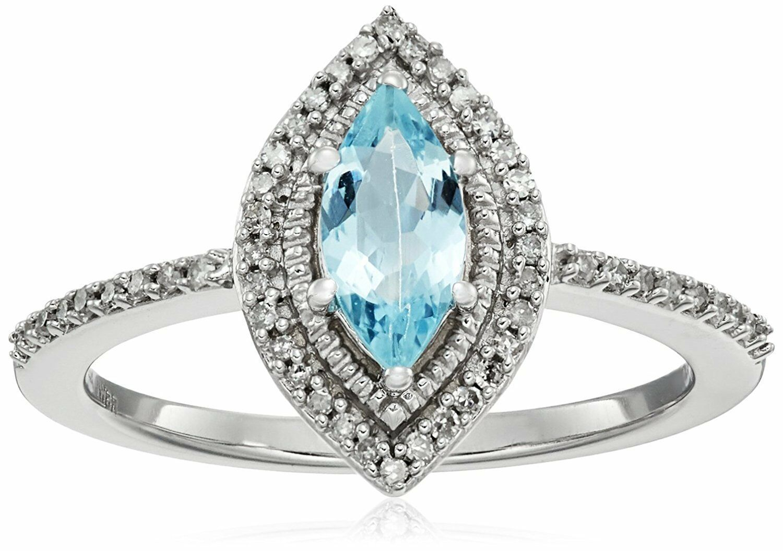 10K or Blanc Marquise Aigue-Marine Diamant Blanc Mode Fiançailles Taille Bague 8