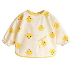 (Yellow Chicken) Kid's Waterproof Feeding Bib Painting Smock, 6-12 Months