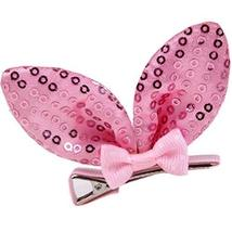 Set Of 5 Cute Rabbit Ears Side Clips Hair Pins Hair Accessories(Pink Sequins)