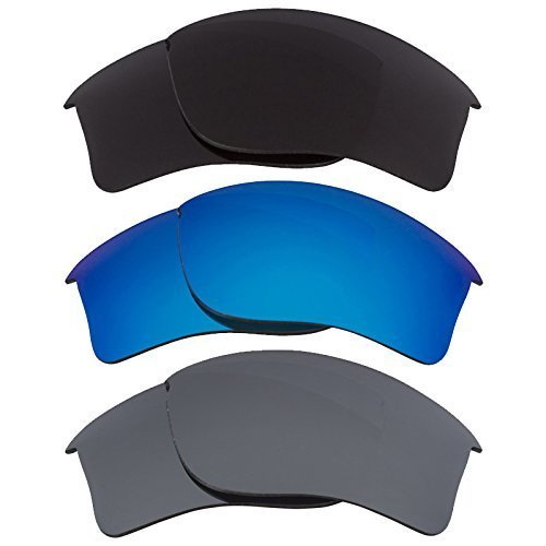 Primary image for New SEEK Replacement Lenses Oakley FLAK JACKET XLJ Polarized Black Grey Blue