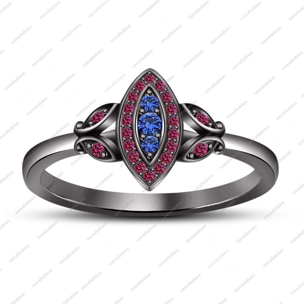Silver 925 Black Gold Finish Round Cut Pink & Blue Sapphire Marquise Shape Ring
