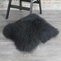 Real Black Mongolian Tibetan lamb fur pillow cushion cover Throw Pillows... - $44.99+