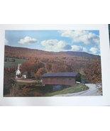 "Fall Color Landscape Poster, 14""x20"", Covered Bridge, West A - $5.00"