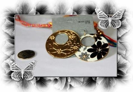 Round Large Metal Disk with White, Grey and Black Enamel in Gold Dangle Earrings