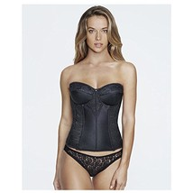 Dominique Longline Lace Torsolette, 48D, Black - $52.79
