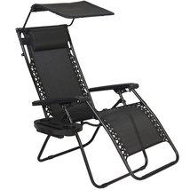 Outdoor Patio Black Chair Garden Lounge Tan Cup Holder Canopy Shade Zero... - $69.99