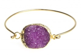 24K Yellow Gold Plated Oval Hot Pink Drusy Quartz Natural Stone Cuff Bracelet - $35.35