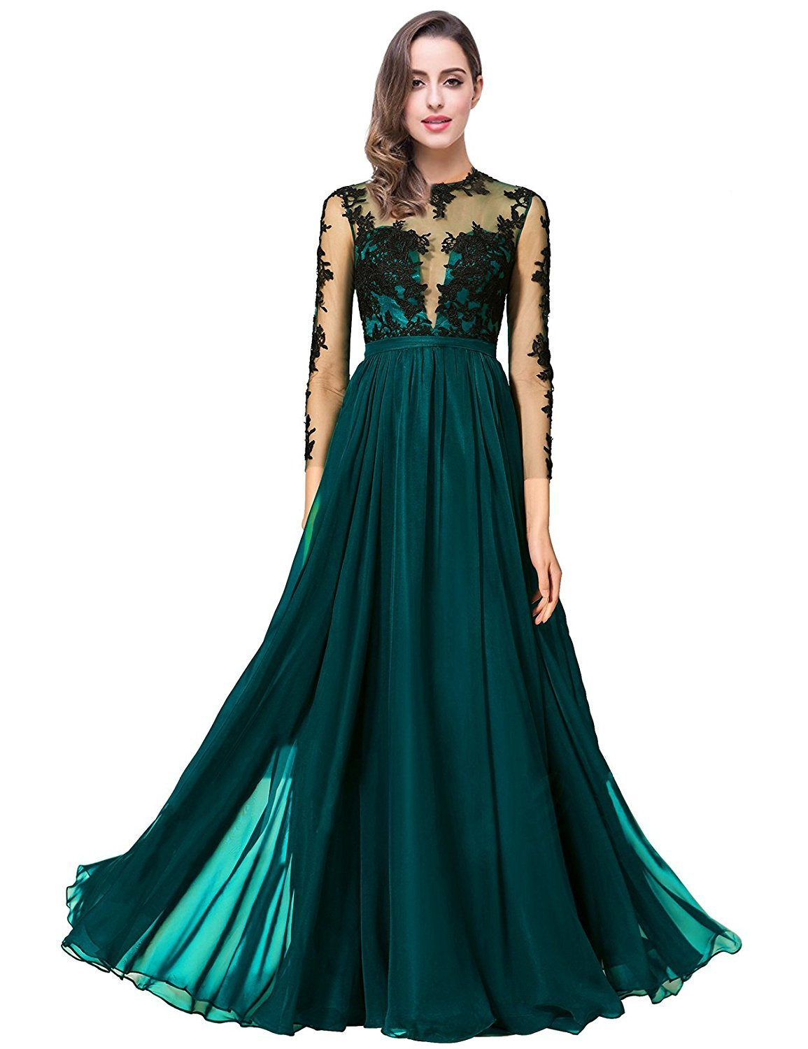Primary image for Women's Chiffon Bridesmaid Dress Lace Long Sleeves Formal Evening Party Gowns