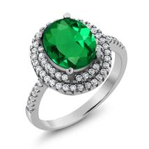 3.50 Ct Oval Green Simulated Emerald 925 Sterling Silver Ring - $115.17