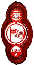16 in stainless steel red themed US Flag 3D hanging yard wind spinner, s... - €28,57 EUR