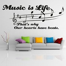"""( 79'' x 31'') Vinyl Wall Decal Quote """"Music Is Life That's Why Our Hearts Ha... - $66.71"""