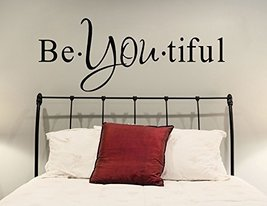 """(63"""" X 22"""") Vinyl Wall Decal Inspirational Quote Be*you*tiful / Text Word Bea... - $47.40"""