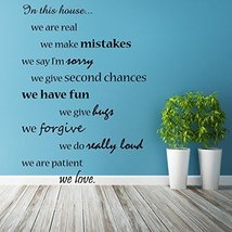 ( 17'' x 24'') Vinyl Wall Decal Quote In this House We Do and Are Family, We ... - $21.44