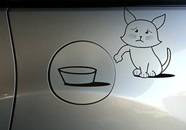 ( 20'' x 20'') Vinyl Car Fuel Door Decal Cute Hungry Cat / Sad & Asking to Ea... - $21.32
