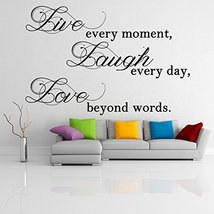 ( 87'' x 56'') Vinyl Wall Decal Quote Live Laugh Love / Inspirational Text Ar... - $118.76