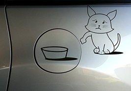 ( 4'' x 4'') Vinyl Car Fuel Door Decal Cute Hungry Cat / Sad & Asking to Eat ... - $13.24
