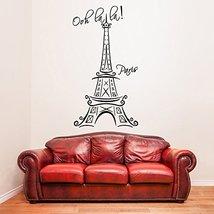 "( 15'' x 28'') Vinyl Wall Decal Eiffel Tower with Quote ""Ooh La La Paris"" / M... - $21.76"