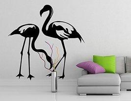 ( 47'' x 47'') Vinyl Wall Decal Flamingo Couple Birds / Tropical Bird Silhoue... - $61.10