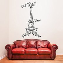 "( 19'' x 35'') Vinyl Wall Decal Eiffel Tower with Quote ""Ooh La La Paris"" / M... - $27.47"
