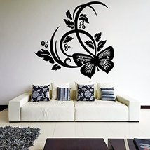 ( 39'' x 38'') Vinyl Wall Decal Beautiful Butterfly Design / Nature Abstract ... - $45.36
