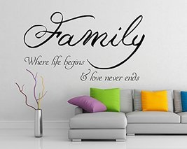 ( 47'' x 28'') Vinyl Wall Decal Quote Family where life begins and love never... - $41.38