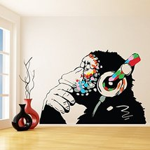 (118'' X 82'') Banksy Vinyl Wall Decal Monkey with Headphones / Colorful Chim... - $296.61