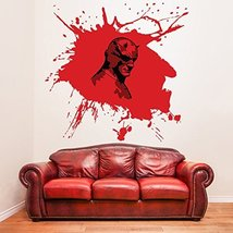 (63'' x 61'') Vinyl Wall Decal Scary Devil Mask Hero with Horns / Bloody Face... - $103.07