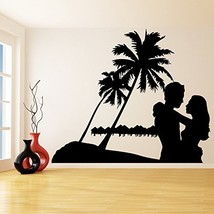(55'' x 43'') Vinyl Wall Decal Paradise Design with Palms & Bungalows / Sunse... - $74.79