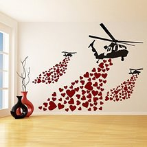 (55'' x 43'') Banksy Vinyl Wall Decal Helicopter with Hearts / Street Art Gra... - $75.44
