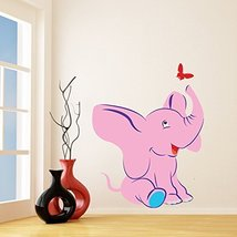 (57'' x 71'') Vinyl Wall Kids Decal Elephant with Butterfly / Art Home Baby A... - $110.08