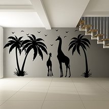 (87'' x 47'') Vinyl Wall Decal Paradise Island with Palms, Birds and Giraffes... - $112.74