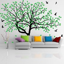 (71'' x 51'') Vinyl Wall Decal Stylish Huge Thin Tree with Falling Leafs and ... - $102.50