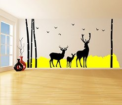 (71'' x 35'') Vinyl Wall Decal Tree, Bushes, Birds & Deer Silhouette / Color ... - $67.25