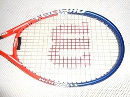 Wilson Tour 110 Titanium Tennis Racquet Blue Orange & White 4 1/2 Grip - $47.50