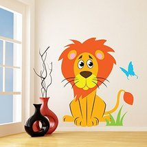 (70'' x 79'') Vinyl Wall Kids Decal Lion with Butterfly / Art Home Baby Anima... - $141.39