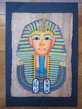UNIQUE Signed Handmade Papyrus Egyptian_KING Tutankhamun Mask_Art Painti... - $15.36