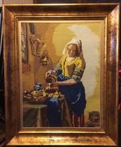 Vtg Vermeer Maidservant Pouring Milk Needlepoin... - $125.00