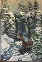 Original Oil Painting on Board Waterfall Deer i... - $24.99