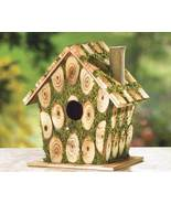 Moss-Edged Birdhouse Rustic Cordwood Style Cottage - $18.95
